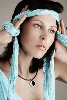 Free Woman With Blue Scarf Stock Photo - 14057220