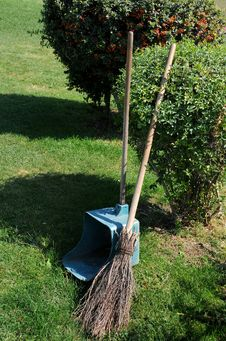Free Broom And Long Handled Scoop In The Park Stock Image - 14057331