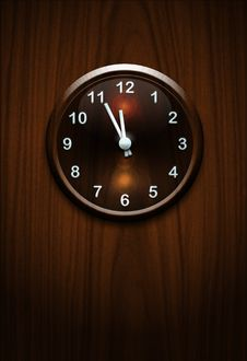 Clock On Wooden Wall Stock Photo