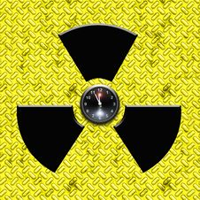 Radiation Sign With Clock Royalty Free Stock Image