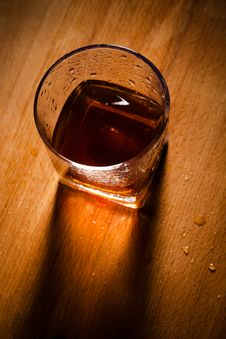 Free Whisky On A Wooden Table Royalty Free Stock Image - 14059056