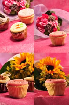 Collection Of CupCakes With Flowers Royalty Free Stock Photo