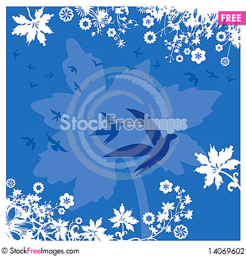 Free Plants, Flowers And Birds Background In Blue Stock Photography - 14069602