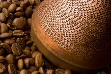 Free Coffee Beans And Jezve. Macro. Stock Image - 14060801