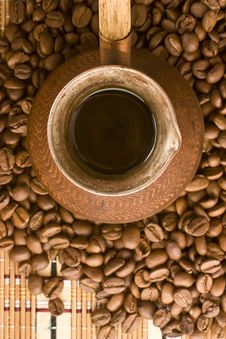 Free Coffee Beans And Jezve. View From Above. Royalty Free Stock Photos - 14060808