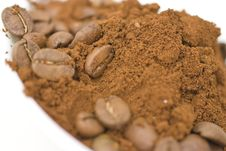 Free Coffee Beans And Ground Coffee. Stock Photos - 14060893