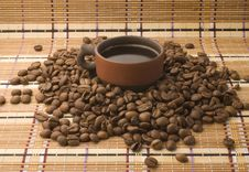 Free A Cup Of Coffee Among Coffee Beans Royalty Free Stock Photos - 14060938