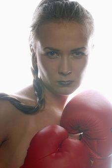 Free Woman In Boxing Gloves Royalty Free Stock Photography - 14061357