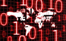 Free World Map And Binary Code Royalty Free Stock Photo - 14061405