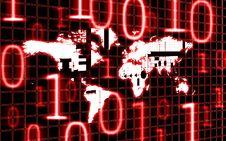 World Map And Binary Code Royalty Free Stock Photo