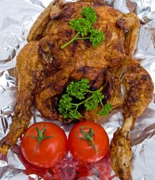 Free Roast Chicken Decorated With Parsley. Stock Photo - 14061680