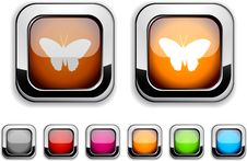 Free Butterfly Button. Stock Images - 14062274
