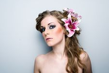 Free Beautiful Girl With Flowers Royalty Free Stock Photography - 14062577