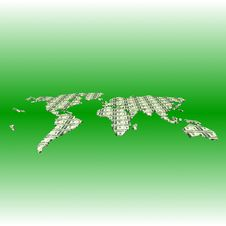Earth Map In Dollar Banknotes On Green Background Stock Image