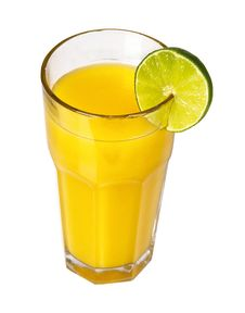 Free Orange Juice With Slice Of Lime Royalty Free Stock Photo - 14063855