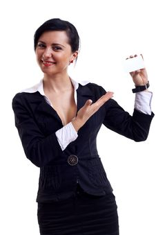 Businesswoman Presenting Card Stock Photography