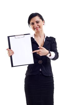 Free Woman Displaying A Notebook Royalty Free Stock Image - 14064956
