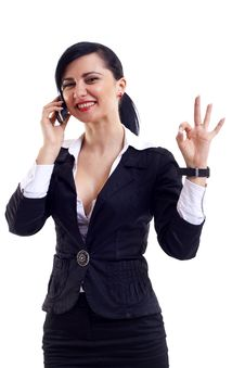 Free Businesswoman On The Phone Winning Stock Photo - 14064960