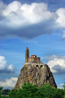 Temple On The Hill In Le Pyui, France Stock Photos