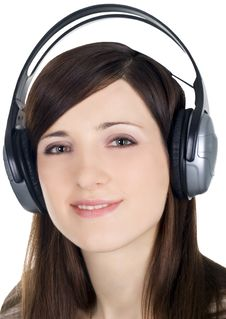 Woman In Headphones Listening Music Royalty Free Stock Photos