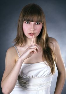 Free Lovely Woman With Finger On Lips Royalty Free Stock Image - 14067236
