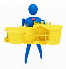 Free 3D Person Holding A Yellow House Stock Photos - 14068753