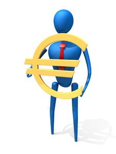 Free 3d Person With A Gold Euro Sign. Stock Photography - 14068862