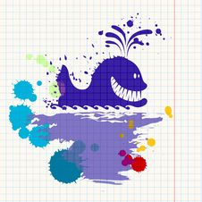 Ink-drawn Whale Stock Image