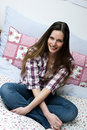 Free Cross-legged On Bed Royalty Free Stock Photography - 14072197