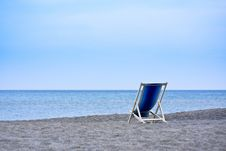 Free Empty Deck Chairs Facing The Sea Royalty Free Stock Photography - 14070227
