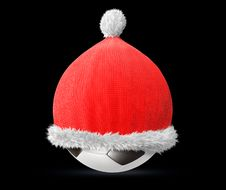 Free Santa Hat On A Soccer Ball Royalty Free Stock Photo - 14071885