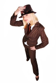 Free Girl In Brown Suit Royalty Free Stock Photo - 14072345