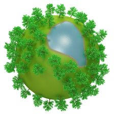 Little Round Planet With Oversized Trees And Lake Stock Photos