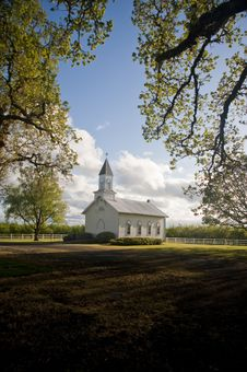 Free Old White Rural Church Royalty Free Stock Image - 14073656