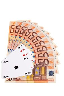 Four Aces And 50 Euro Banknotes. Royalty Free Stock Photography