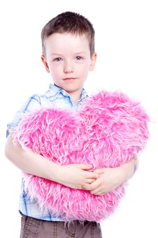 Free Cute Baby Boy Holding A Heart Stock Photo - 14074230