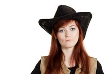 Free Portrait Of Cowboy Girl Stock Image - 14074251