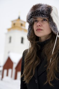 Free Winter Portrait Of Young Beautiful Woman Stock Photography - 14074562
