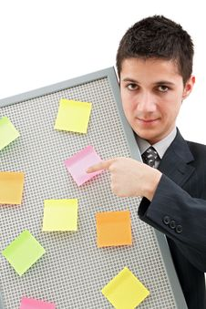 Free Businessman Showing Onto The Reminder Board Royalty Free Stock Photo - 14075735