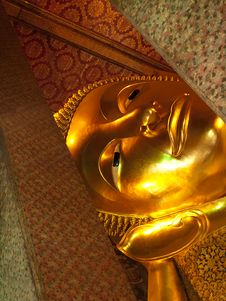Free Face Of The Reclining Buddha Royalty Free Stock Images - 14075859