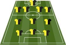 Football Soccer Field Pitch With Player Jerseys Royalty Free Stock Photo
