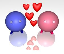 Two In Love With Floating Hearts Royalty Free Stock Photo