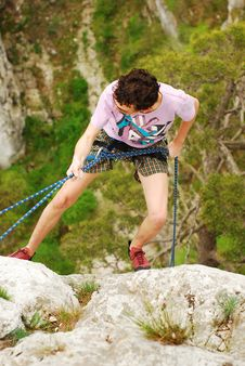 Climber Rappelling Royalty Free Stock Image