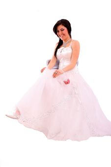 Free Smiling Bride Look Her Shoe Stock Photography - 14079102