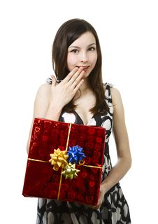 Free Girl With Gift Royalty Free Stock Photo - 14079265