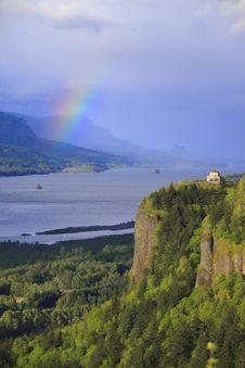 Free Rainbow & Vista House Oregon. Royalty Free Stock Photo - 14079495