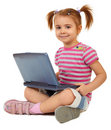 Free Little Funny Girl With Laptop Stock Image - 14085171