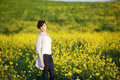Free Girl On Yellow Field Stock Photos - 14087023