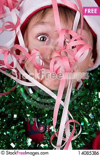 Free Boy With Santa S Hat Royalty Free Stock Image - 14085386