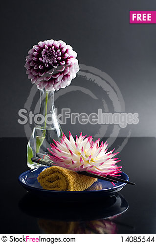 Free Still Life Asian Style On Balck Stock Images - 14085544